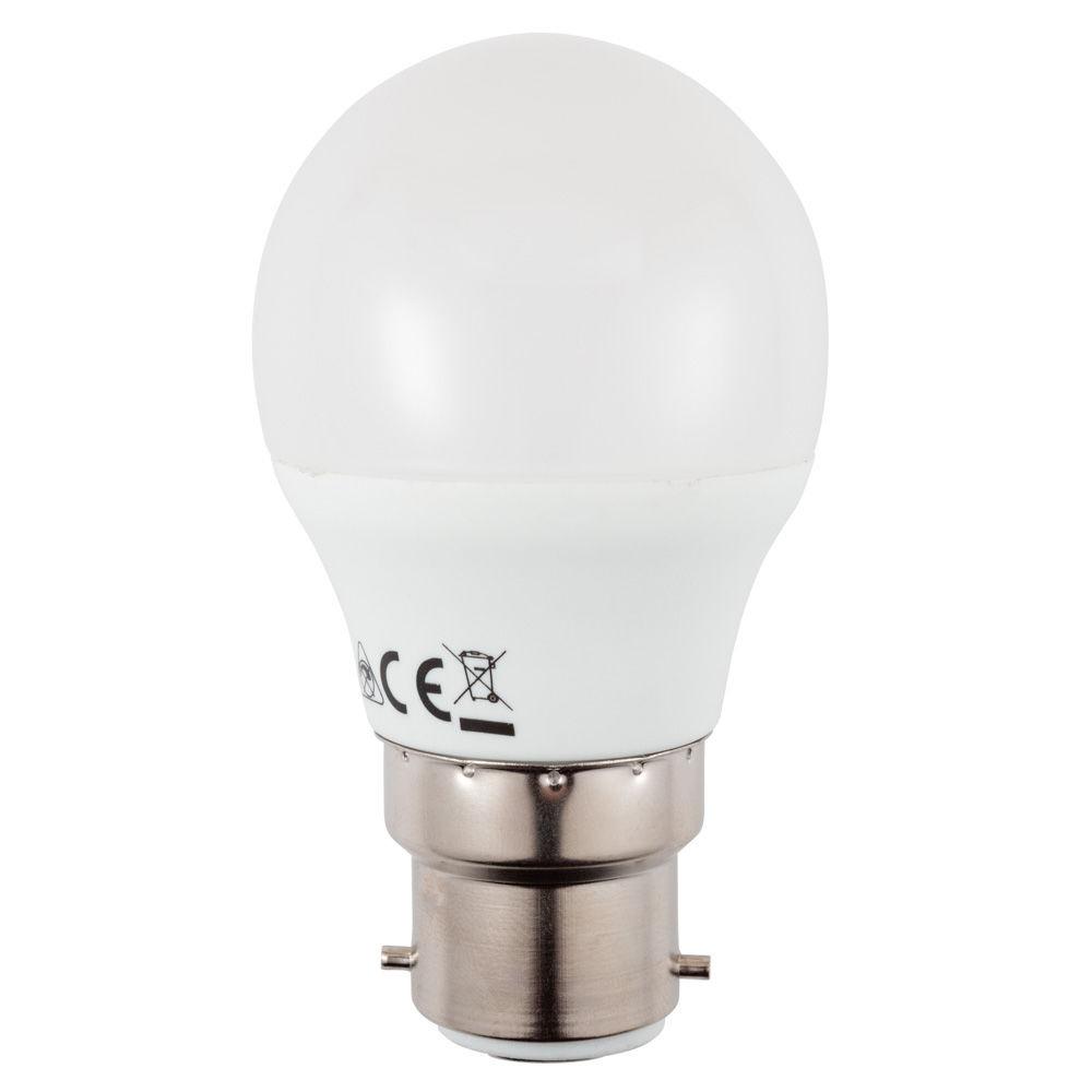 6 Watt Led B22 Bayonet Cap Golf Ball Light Bulb Warm Litecraft