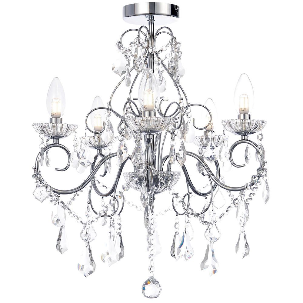 litecraft 5 light modern in chrome decorative bathroom chandelier ip44 lighting