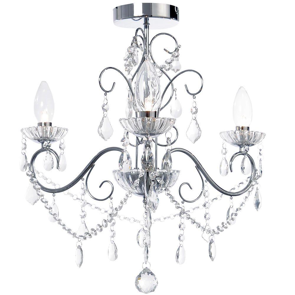 Bathroom chandeliers daintyu0027 matte silver and crystal 1light chandelier fair bathroom - Bathroom crystal chandelier ...
