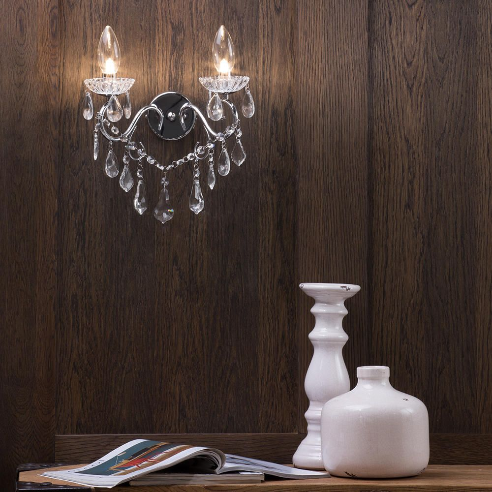 Vara Bathroom Wall Light - 2 Light - Chrome from Litecraft
