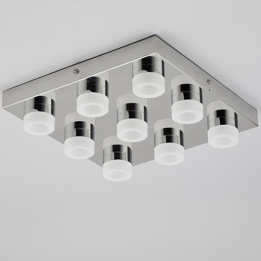 lights calore 9 light led square flush bathroom ceiling light chrome