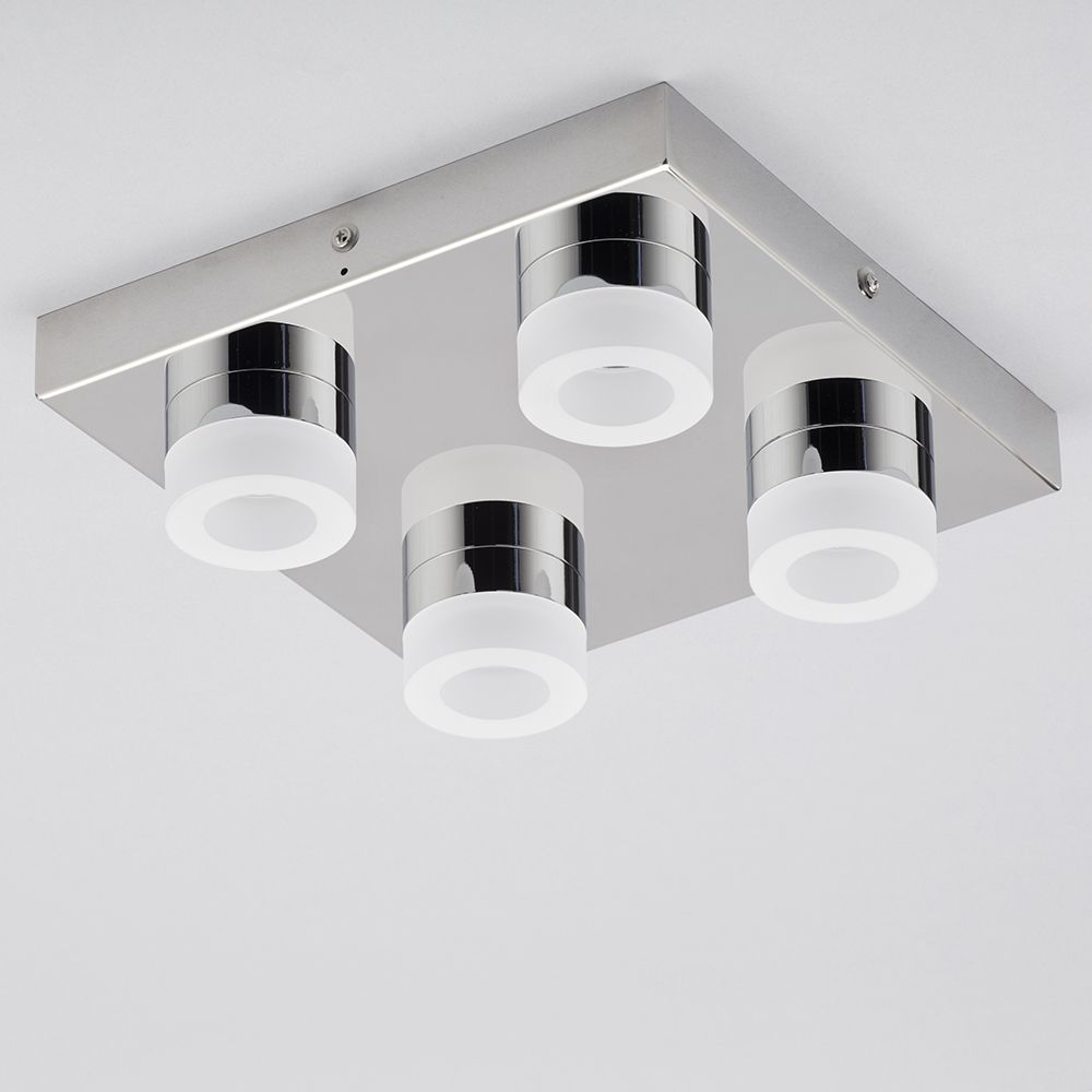 calore 4 light led square chrome bathroom ceiling flush light