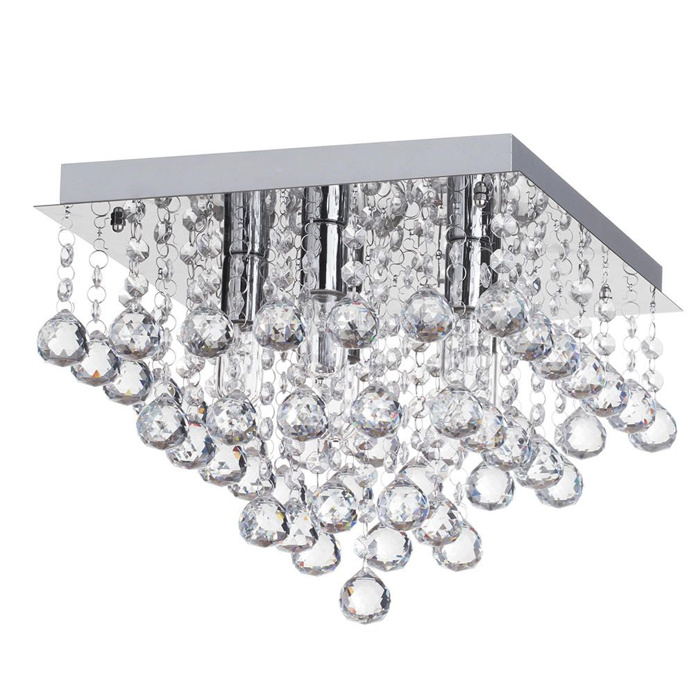 Orlando 5 Light Bathroom Square Flush Ceiling Light Chrome