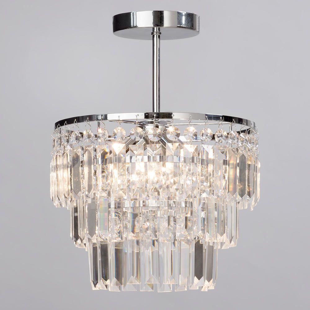 Semi flush bathroom chandelier vasca crystal bar chrome for Crystal lighting for bathroom