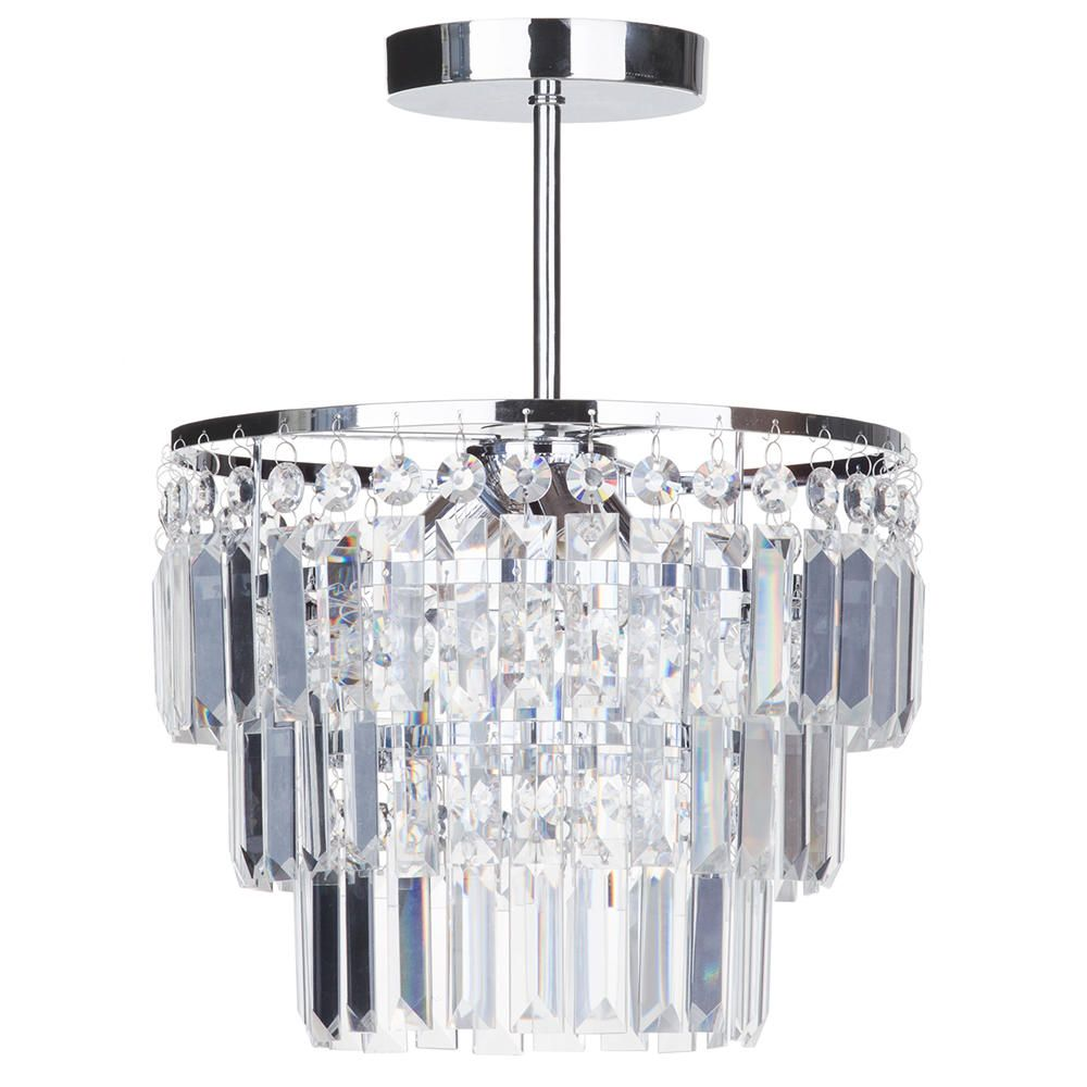 Semi flush bathroom chandelier vasca crystal bar chrome - Small bathroom chandelier crystal ...