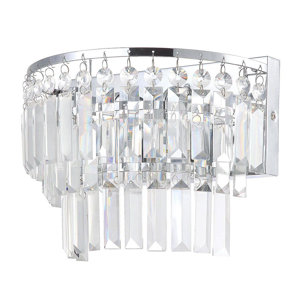 Bathroom Wall Light Vasca 2 Light Crystal Bar Chrome From