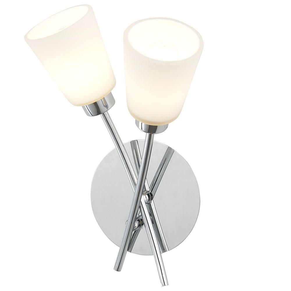 2 Light Bathroom Wall Light w/ Frosted Glass Shades - Chrome