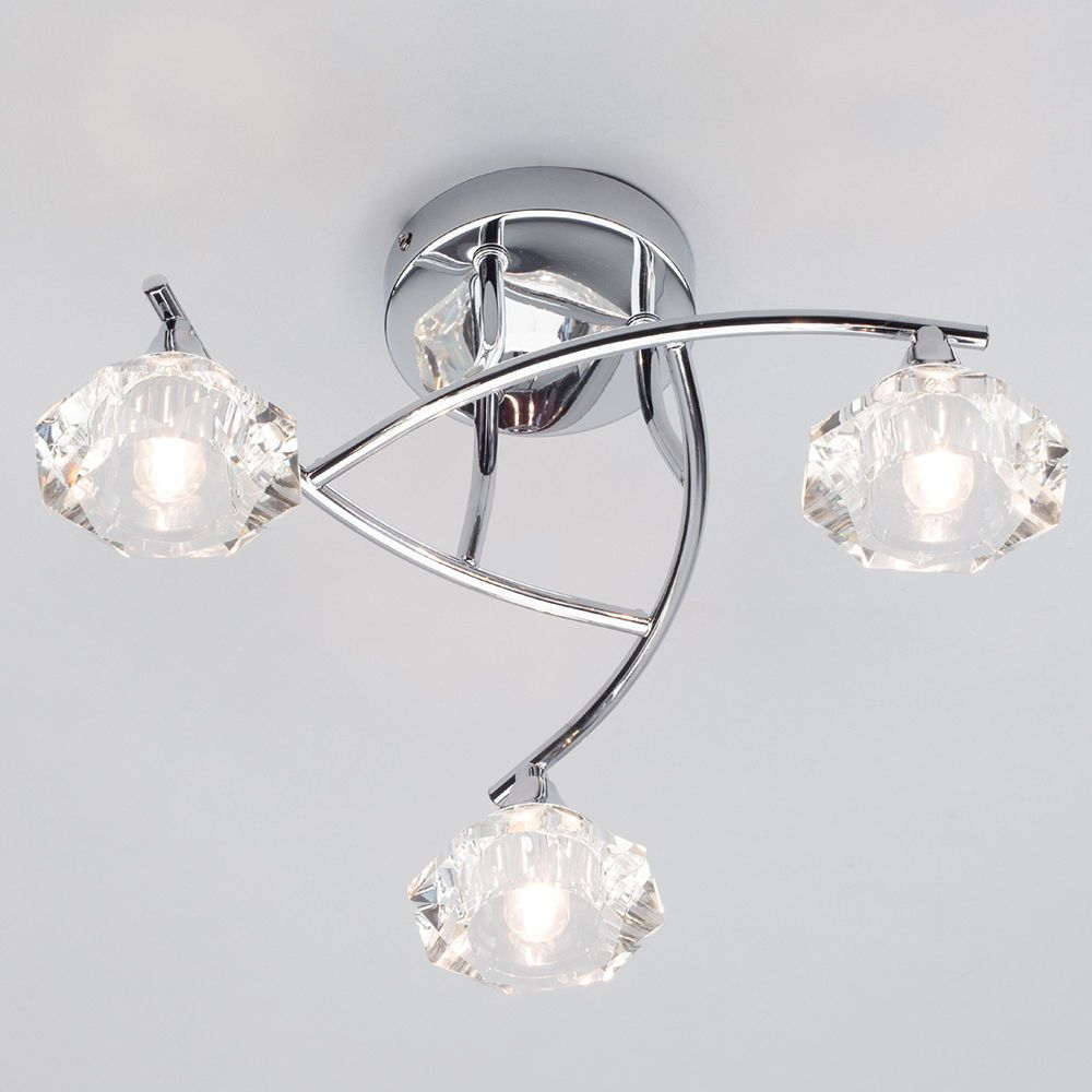 Edvin 3 Light Bathroom Semi Flush Ceiling Light
