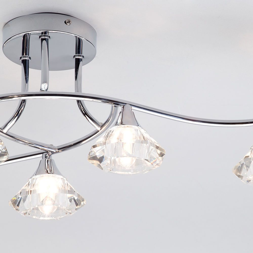 Semi Flush Ceiling Light Edvin Bathroom 6 Light Chrome ...