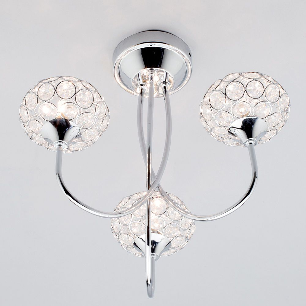 Ovii 3 light bathroom semi flush ceiling light chrome glass 3 arm chandelier bathrrom beautiful ceiling light mozeypictures Images