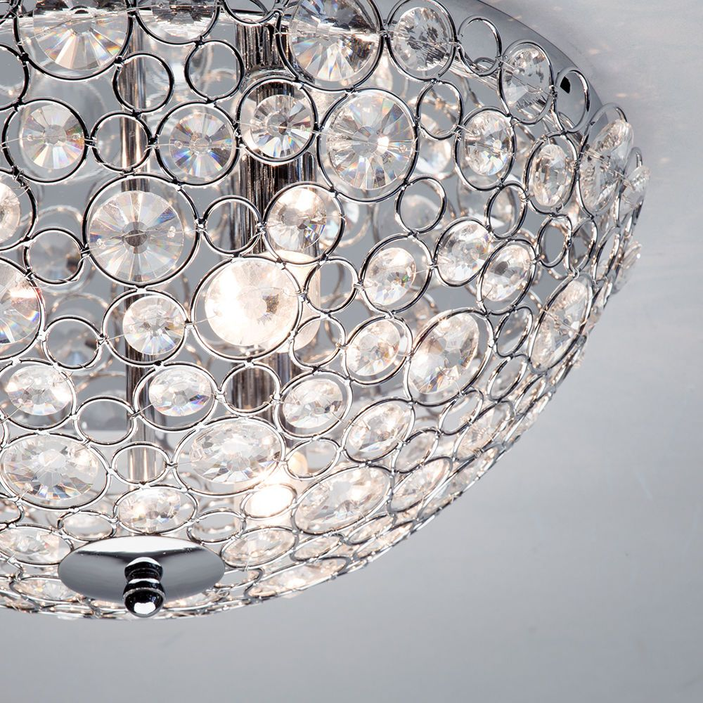 Ovii 3 light bathroom oval flush ceiling light chrome glass glass bead reflects light flush matching bathroom wall lights mozeypictures Image collections