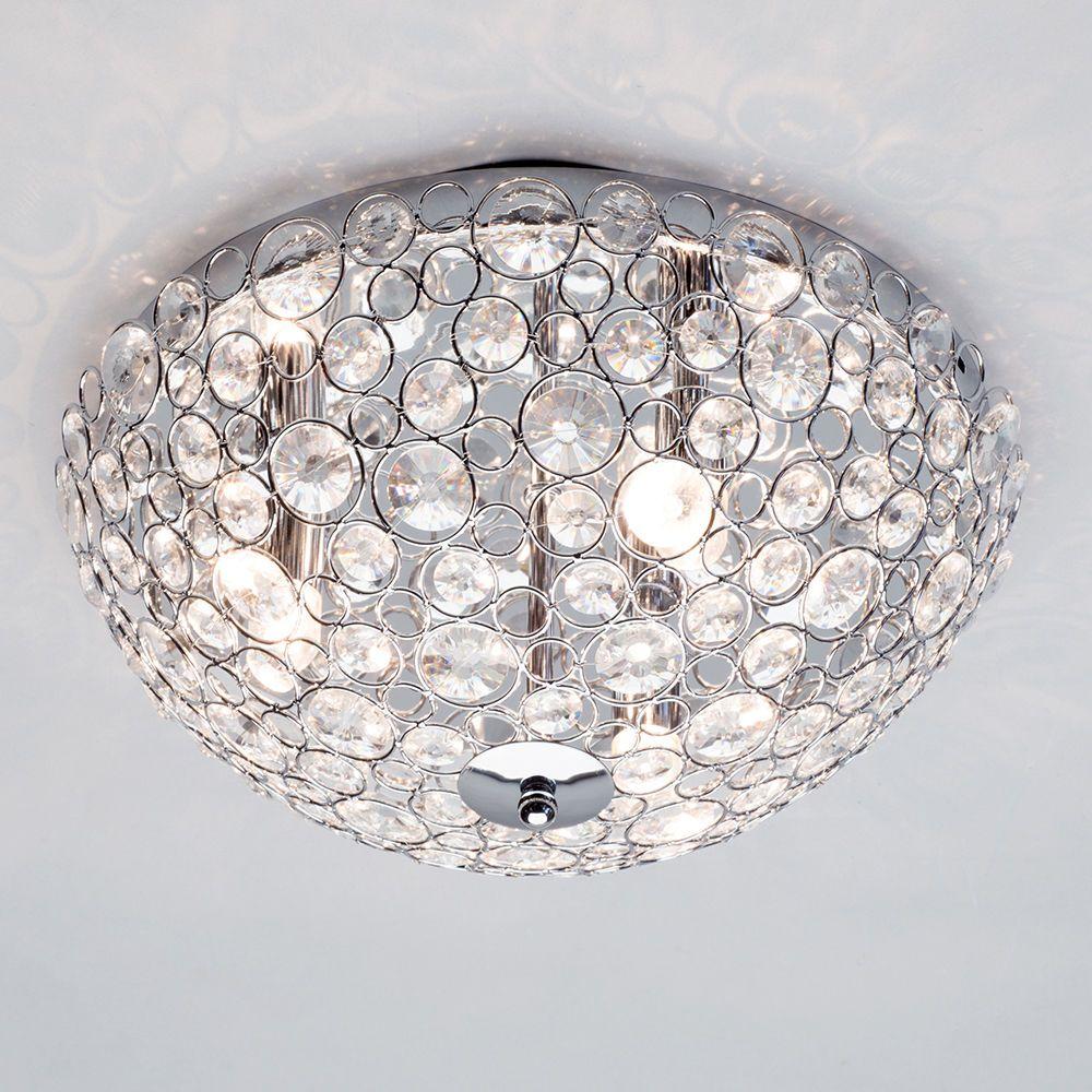 Flush ceiling light ovii 3 light bathroom oval chrome glass round circular semi flush bathroom ceiling light mozeypictures Gallery
