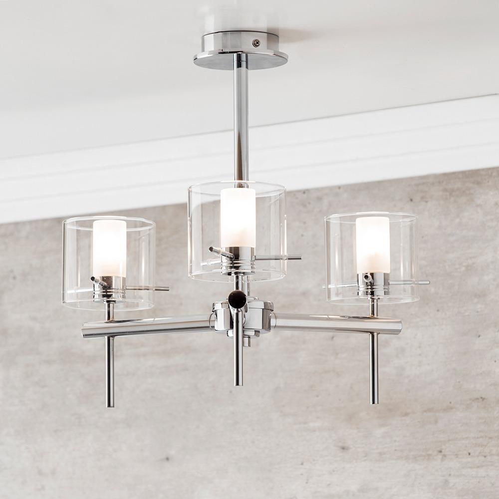 Lincoln 3 Light Bathroom Semi Flush Ceiling Light With Cylinder Glass Shades Chrome
