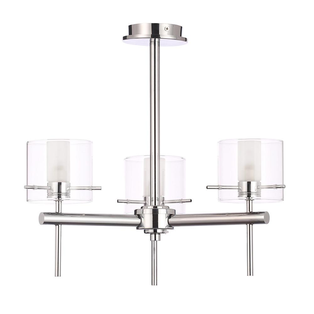 Lincoln 3 Light Bathroom Semi Flush Ceiling Light with Cylinder Glass Shades - Chrome