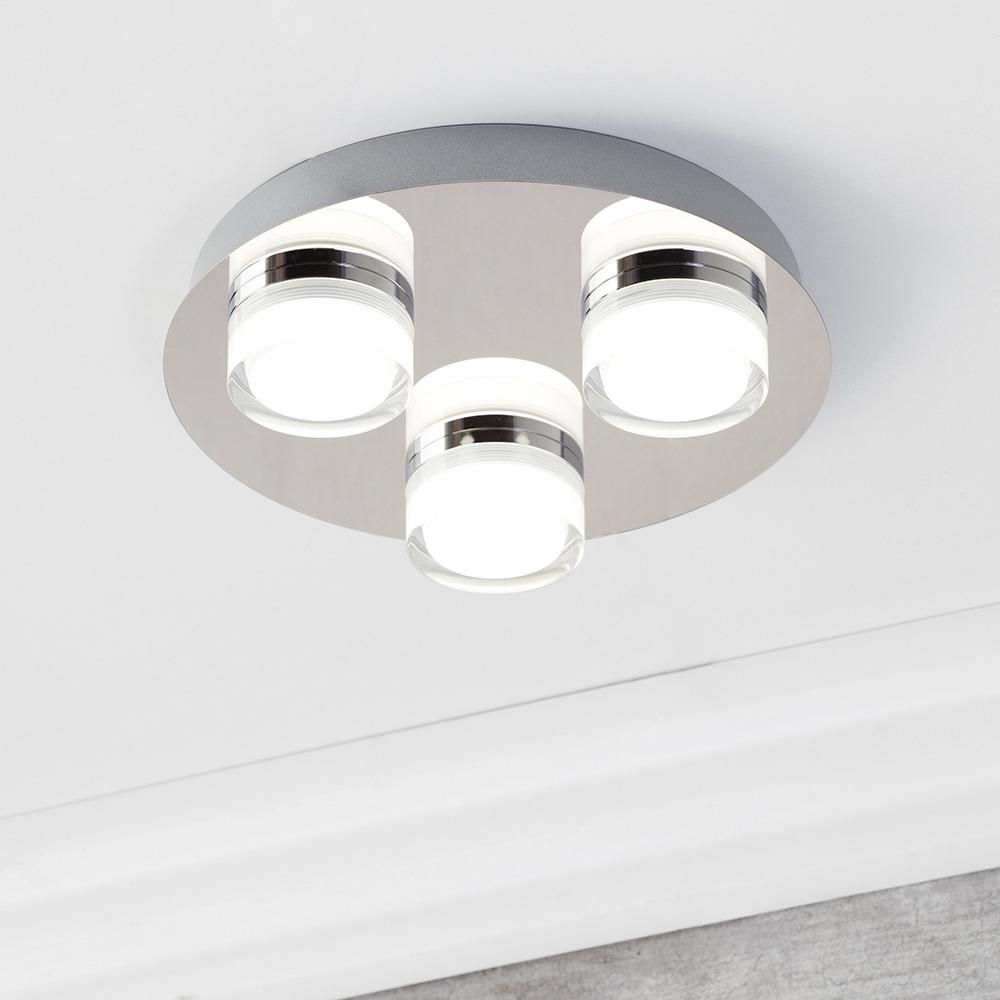 Bolton 3 Light Led Ip44 Flush Ceiling Spotlight Plate