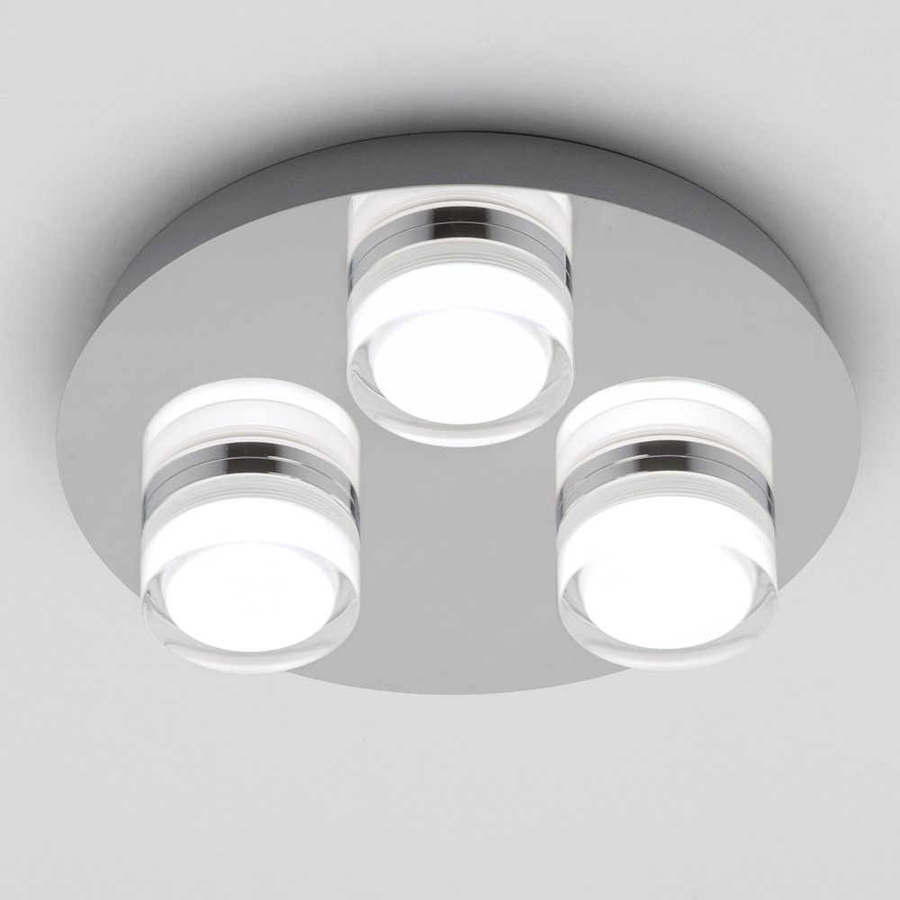 Bolton 3 Light LED IP44 Flush Ceiling Spotlight Plate ...