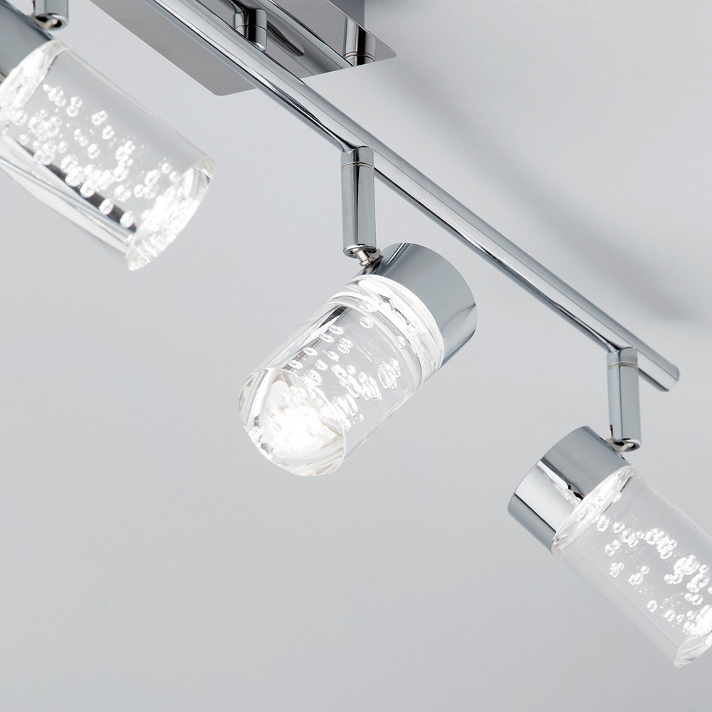 Bubble glass effect ceiling spotlight with adjustable heads