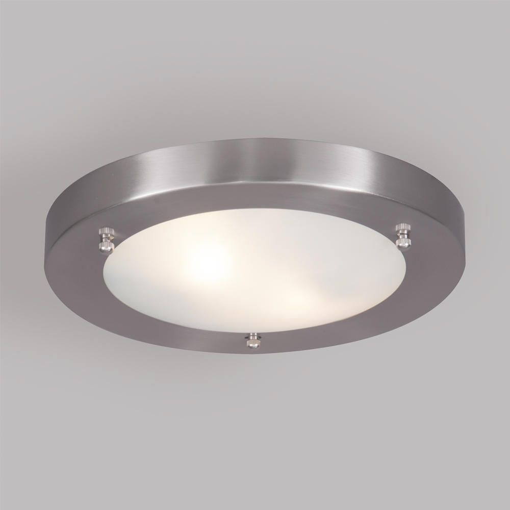 Mari bathroom ceiling large flush light satin nickel for Stainless steel bathroom lights