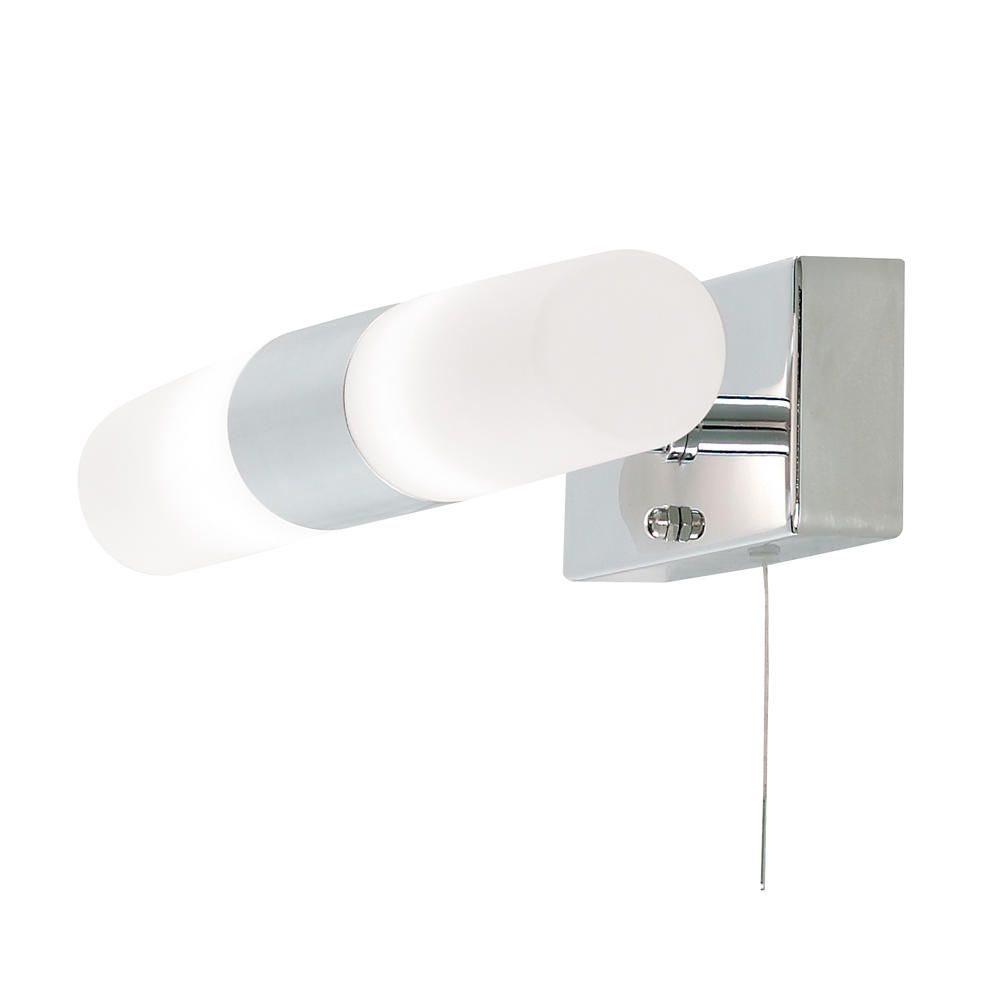 Bathroom Wall Light With Pull Switch : Elena Glass Bathroom Wall Light 2 Light Pull Cord Switch