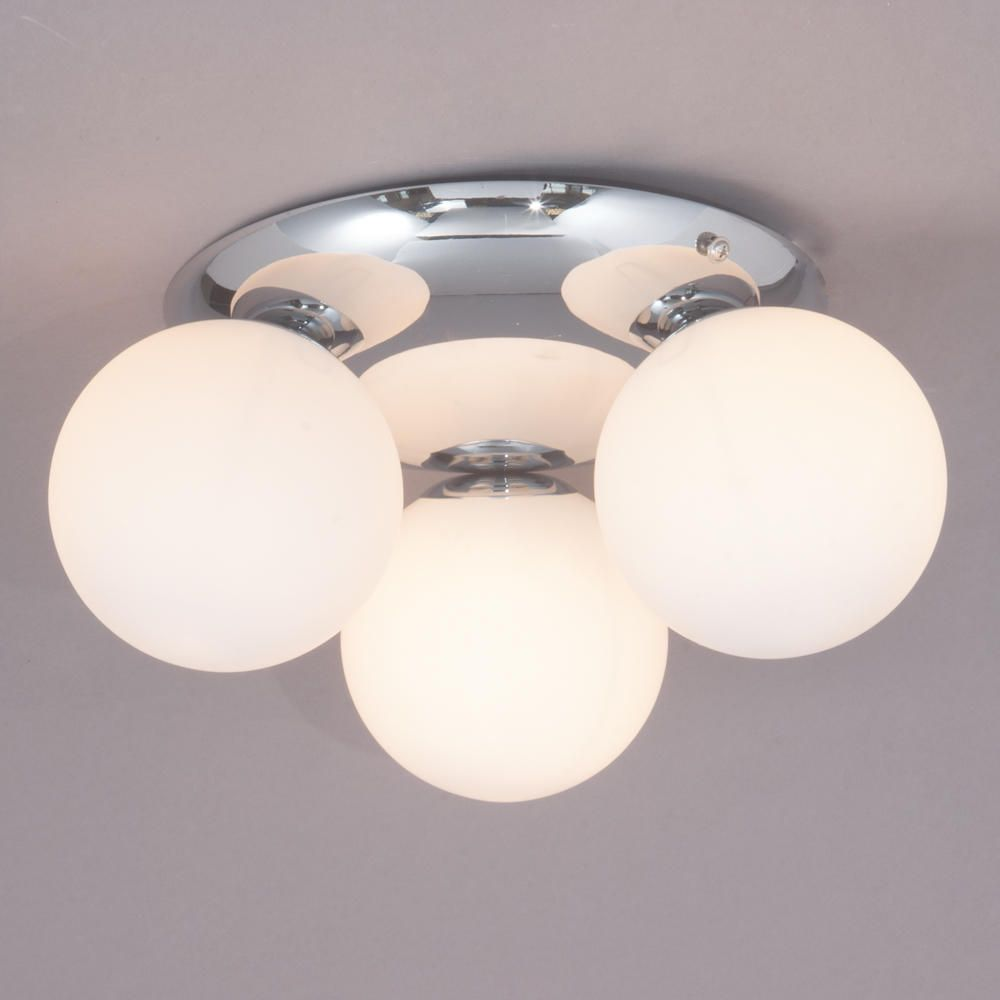 3 Way Ip44 Bathroom Modern Ceiling Light Chrome With Glass Shades Litecraft Ebay