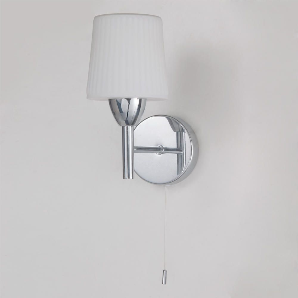 Glass Shades For Wall Lights : Molice Bathroom Wall Light - Ribbed Opal Glass from Litecraft