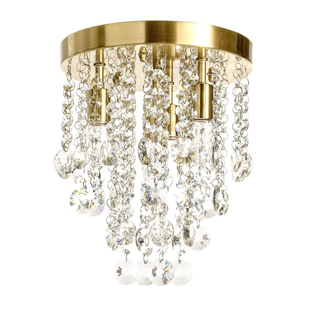 Turin 4 Light Semi Flush Circular Bathroom Ceiling Light - Satin Brass