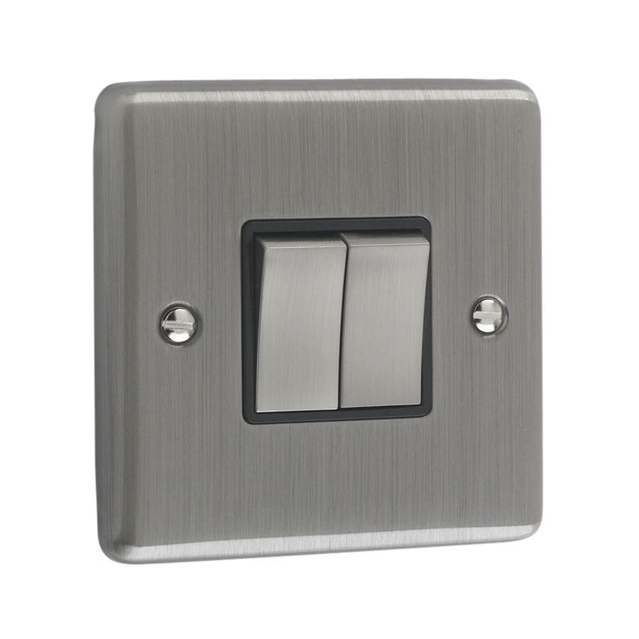 Litecraft 2 Gang 2 Way Brushed Chrome Plate Switch - Black Trim