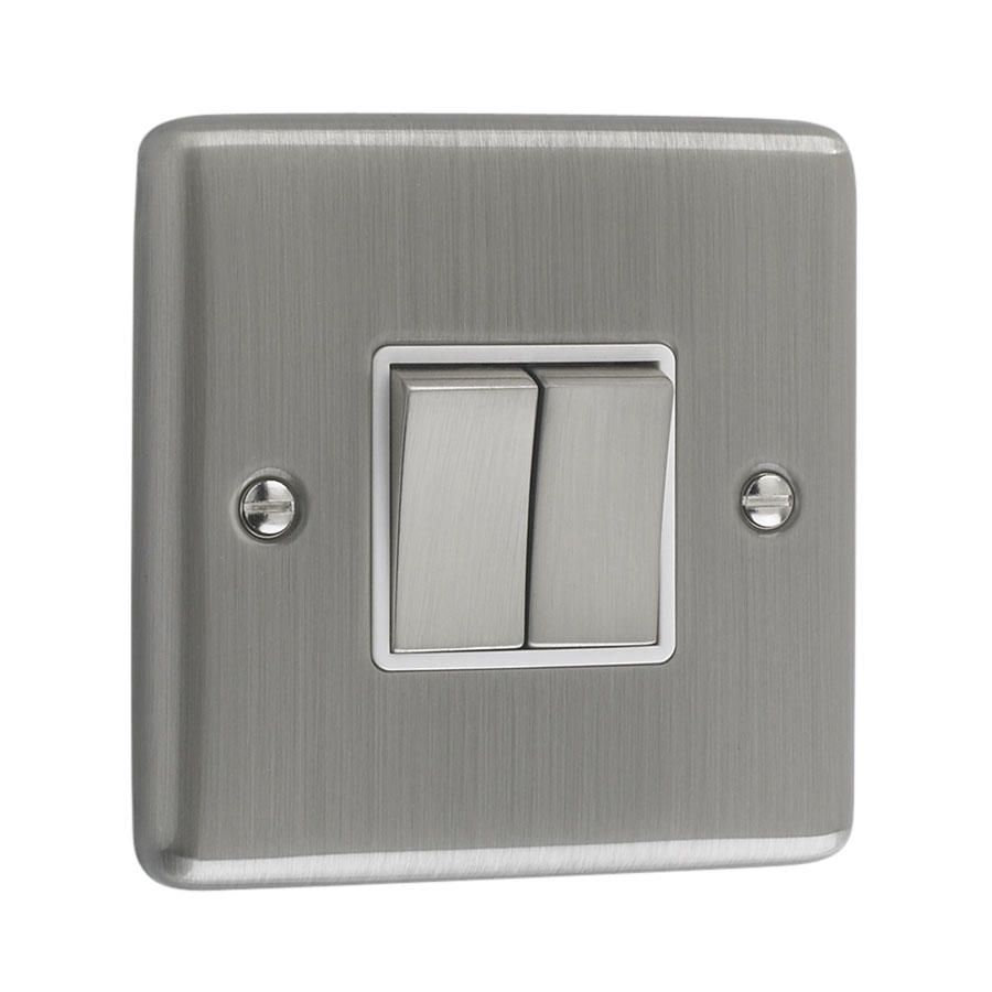 Litecraft 2 Gang 2 Way Brushed Chrome Plate Switch - White Trim