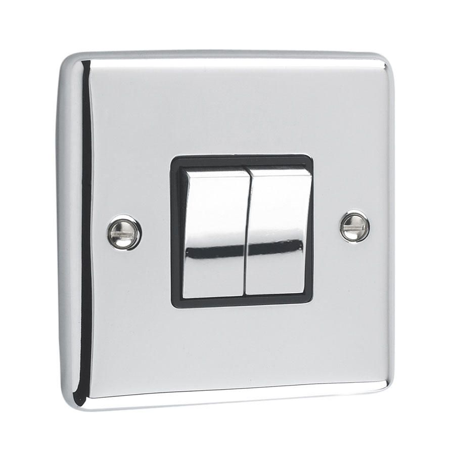 Litecraft 2 Gang 2 Way Polished Chrome Plate Switch - Black Trim