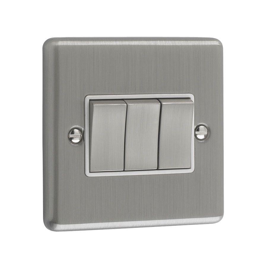 Litecraft 3 Gang 2 Way Brushed Chrome Plate Switch - White Trim