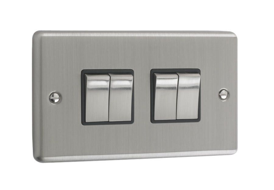 Litecraft 4 Gang 2 Way Brushed Chrome Plate Switch - Black Trim