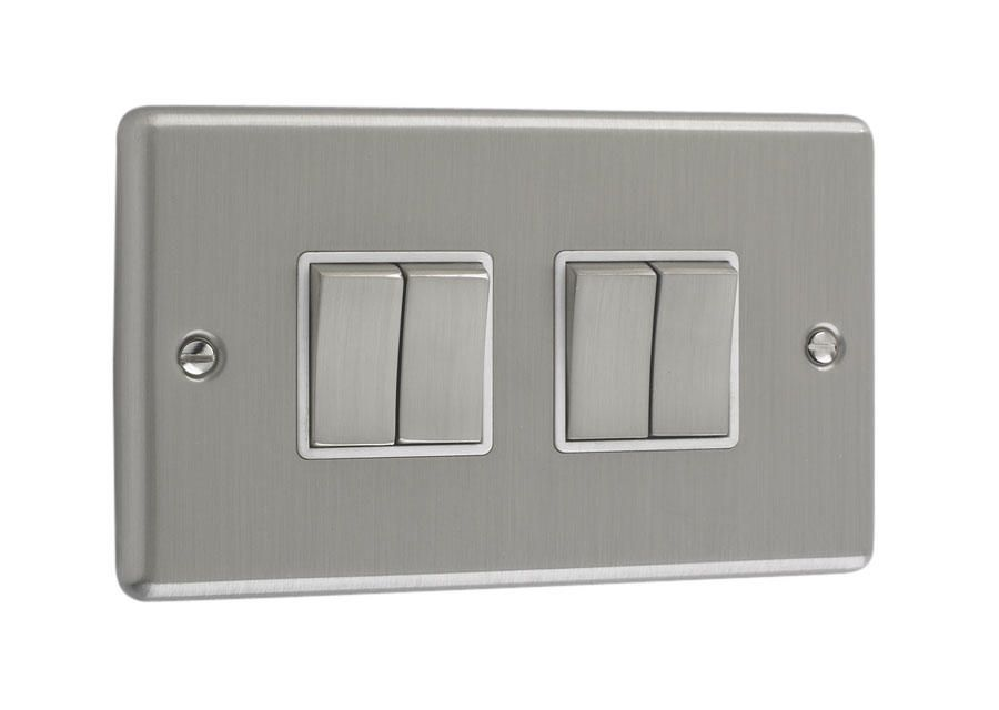 Litecraft 4 Gang 2 Way Brushed Chrome Plate Switch - White Trim