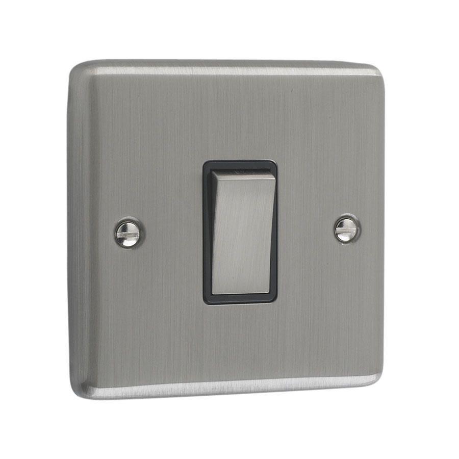 Litecraft 1 Gang 2 Way Brushed Chrome Plate Intermediate Switch - Black Trim