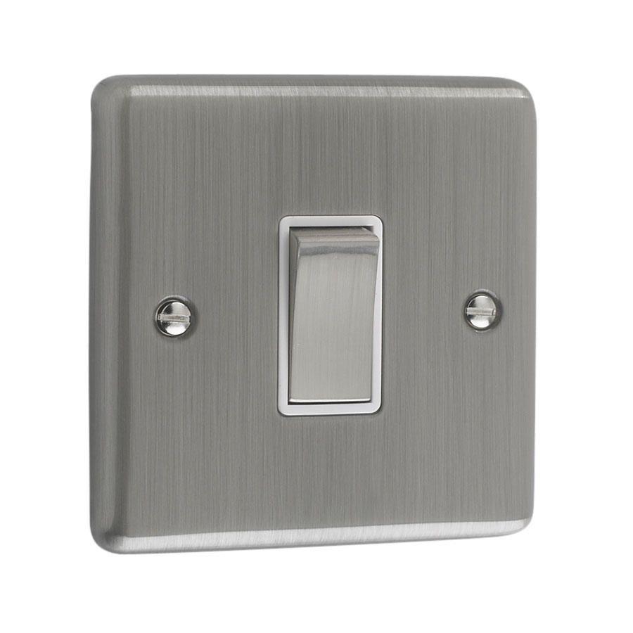 Litecraft 1 Gang 2 Way Brushed Chrome Plate Intermediate Switch - White Trim