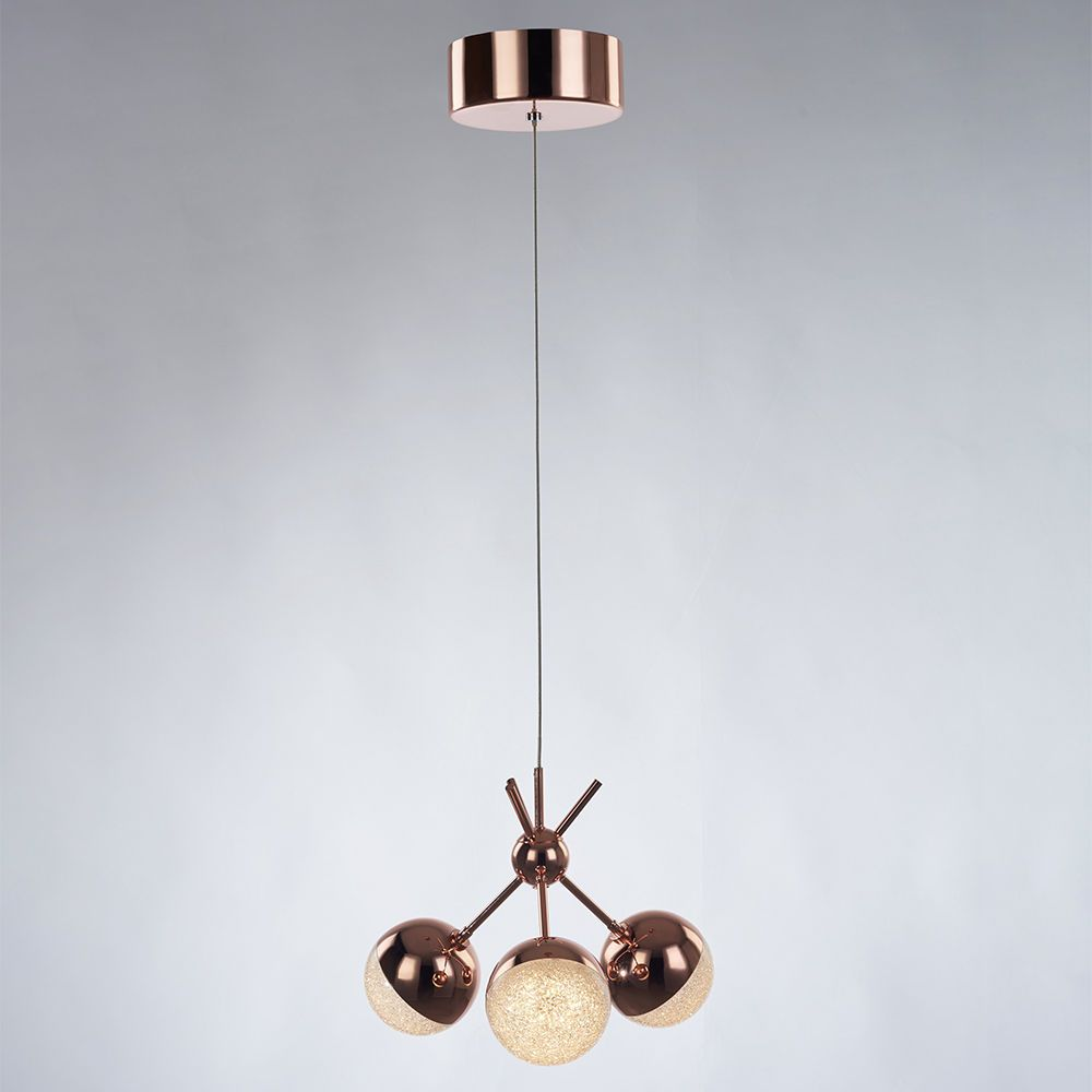 Corona 3 Light Ceiling Cluster Pendant with Sparkle Shades - Copper From Litecraft