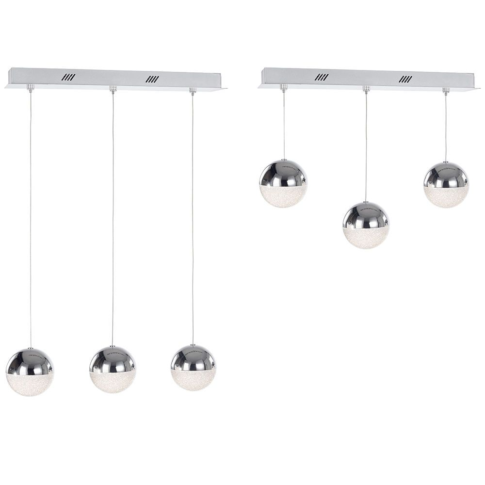 Height Adjustable Led Pendant Light Drop: Visconte Corona 3 Light Ceiling Bar Pendant