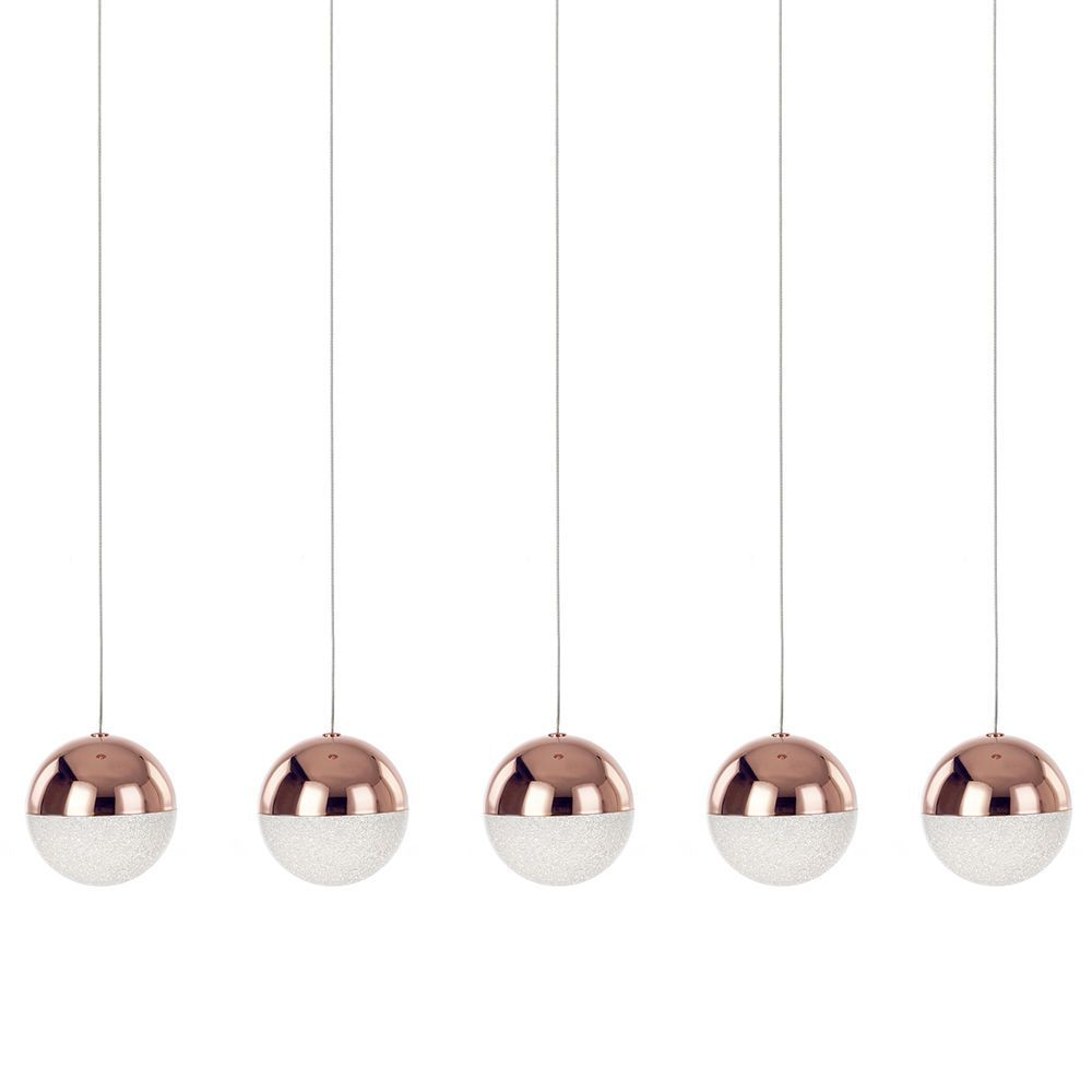 Visconte Corona 5 Light Ceiling Bar Pendant - Copper