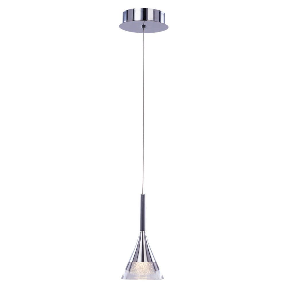 conical led glass ceiling pendant chrome from
