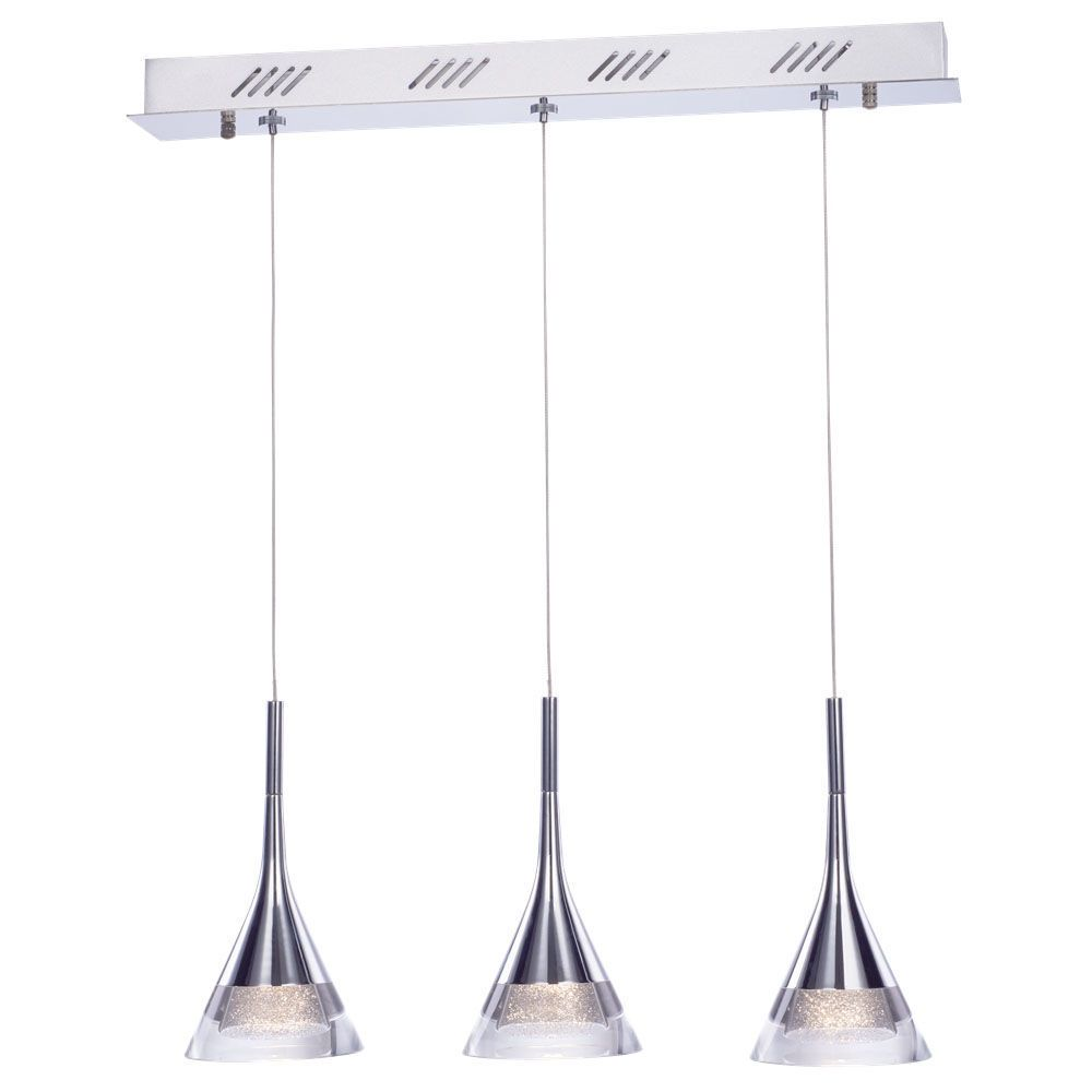 3 Bar Pendant Light Hanging Chrome Effect 3 Way Mounted: Jewel Conical LED 3 Light Ceiling Pendant Bar