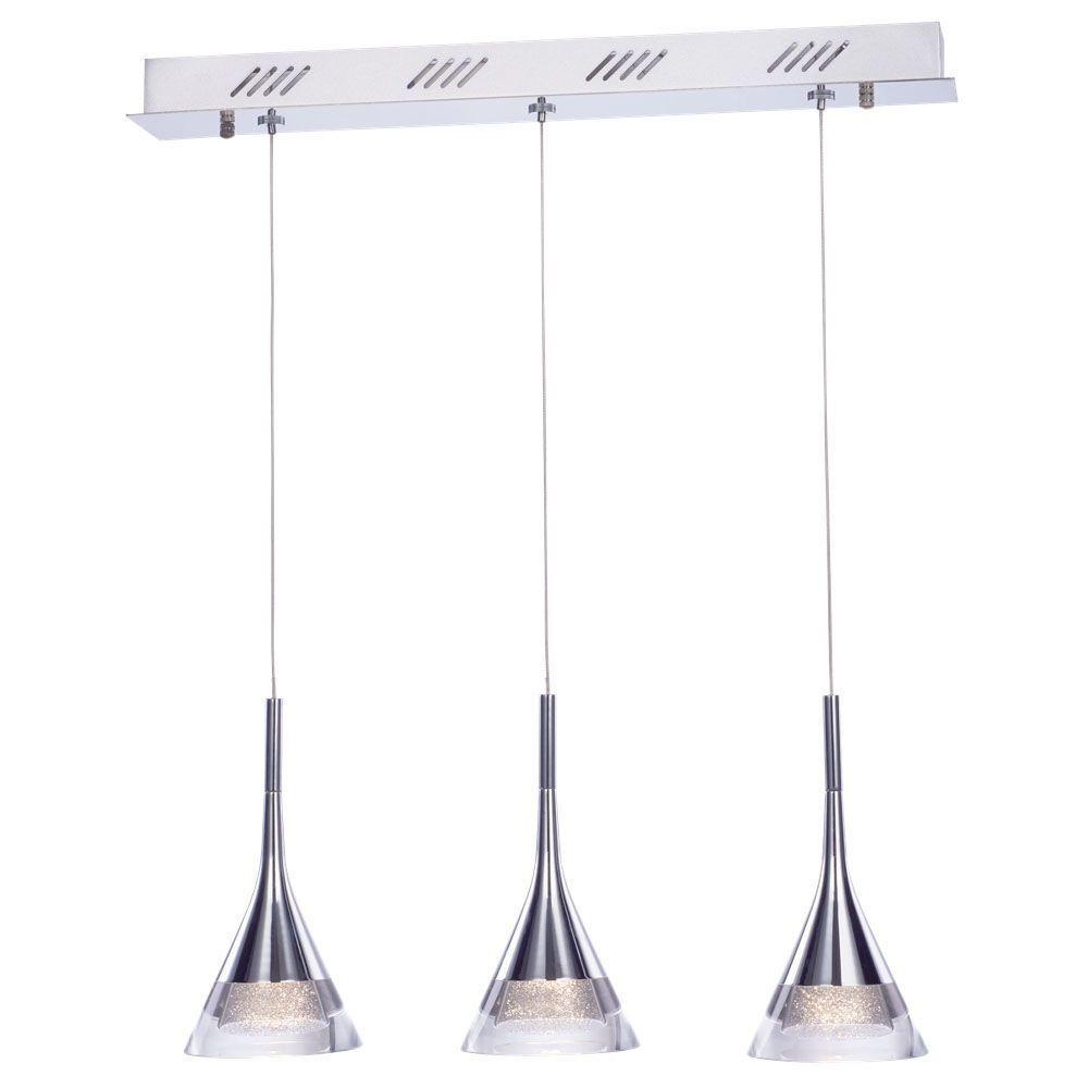 Visconte Gem Conical LED 3 Light Ceiling Pendant Bar - Chrome