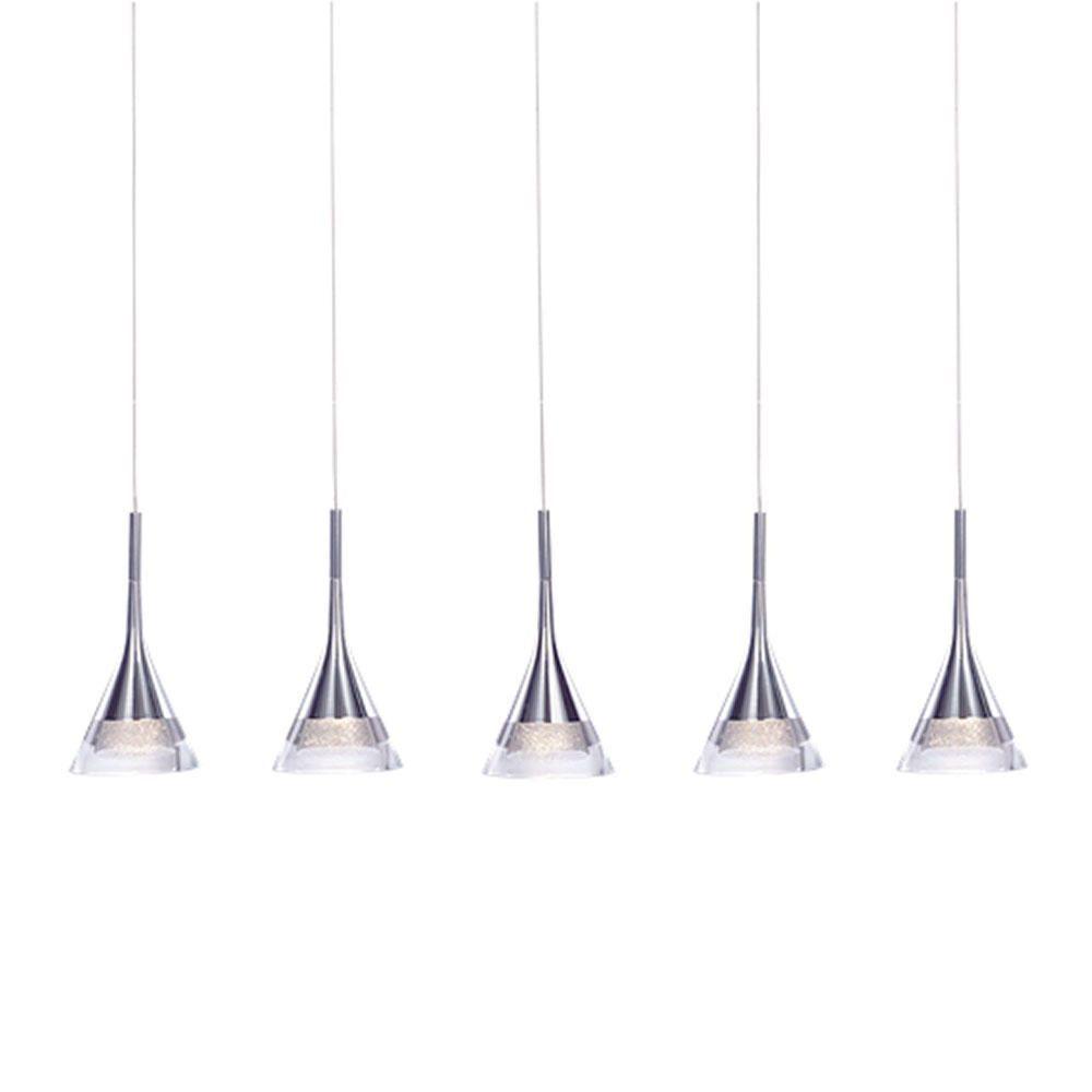 Visconte Gem Conical LED 5 Light Ceiling Pendant Bar - Chrome