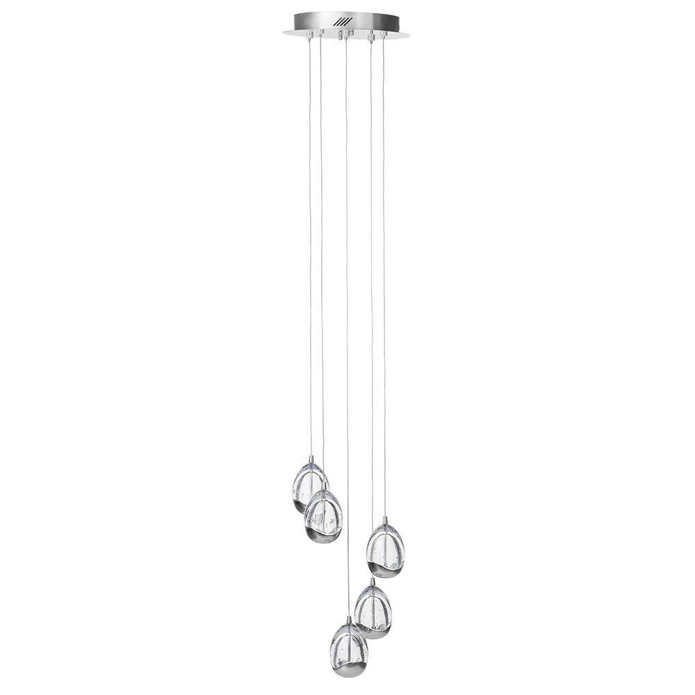 Visconte Bulla 5 Light LED Spiral Cluster Ceiling Pendant Light - Chrome