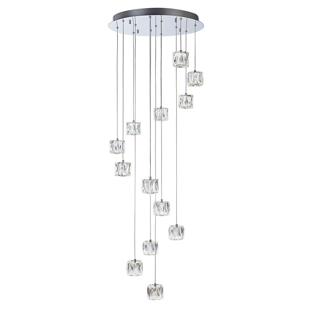 Litecraft Ice 13 Light Spiral Ceiling Pendant - Chrome