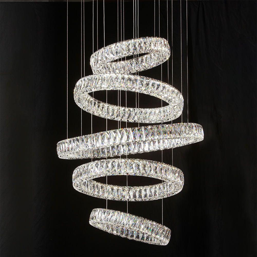 Visconte Crystal Five Hoop Led Prism Bar Ceiling Pendant