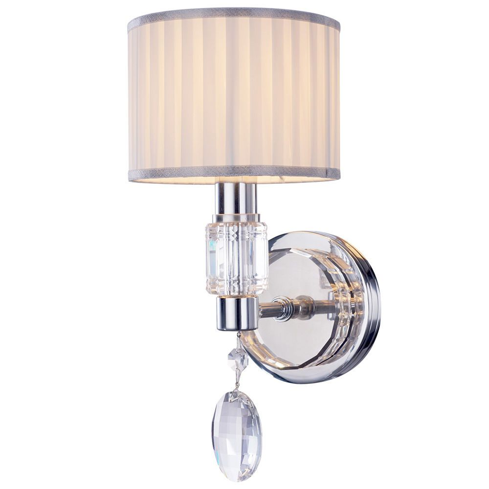 Laertes 1 Light Wall Light with Droplet and Pleated Shade - Chrome From Litecraft