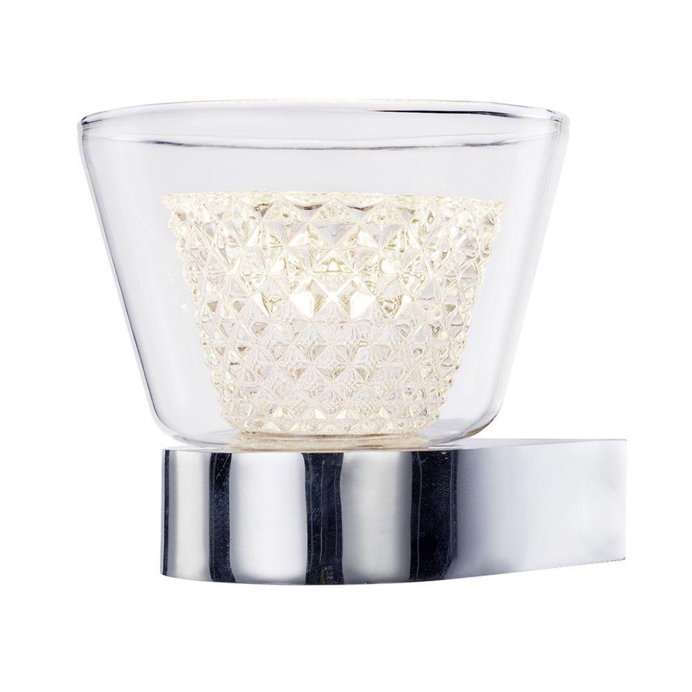 Cut Glass Wall Lights : Hourglass Single Light LED Diamond Cut Glass Wall Light - Chrome From Litecraft