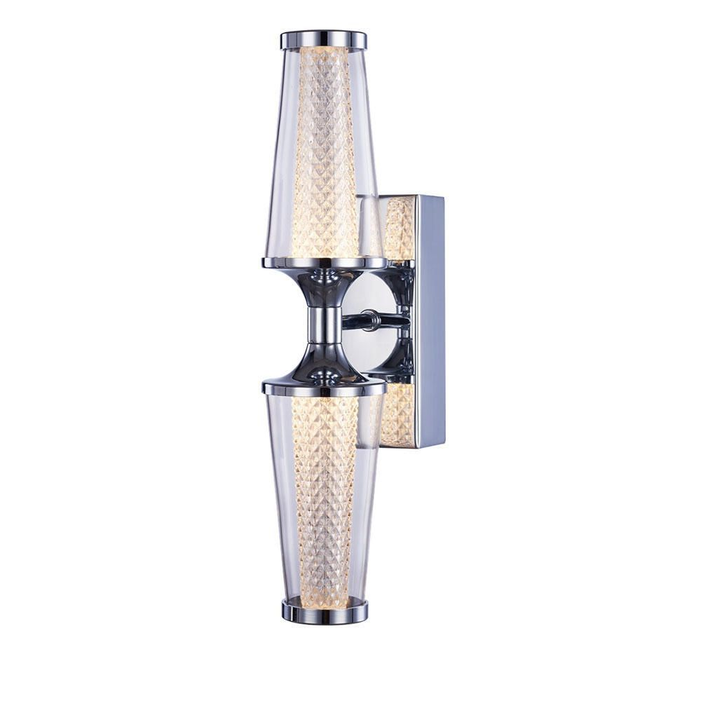 Visconte Aura Double Led Ip44 Rated Wall Light Chrome