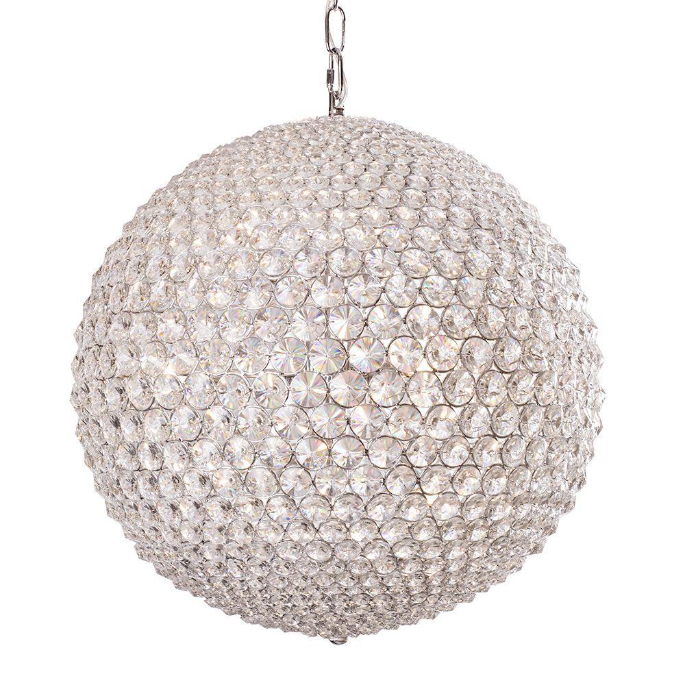 Visconte Vetro 9 Light Crystal Globe Pendant Chrome Litecraft