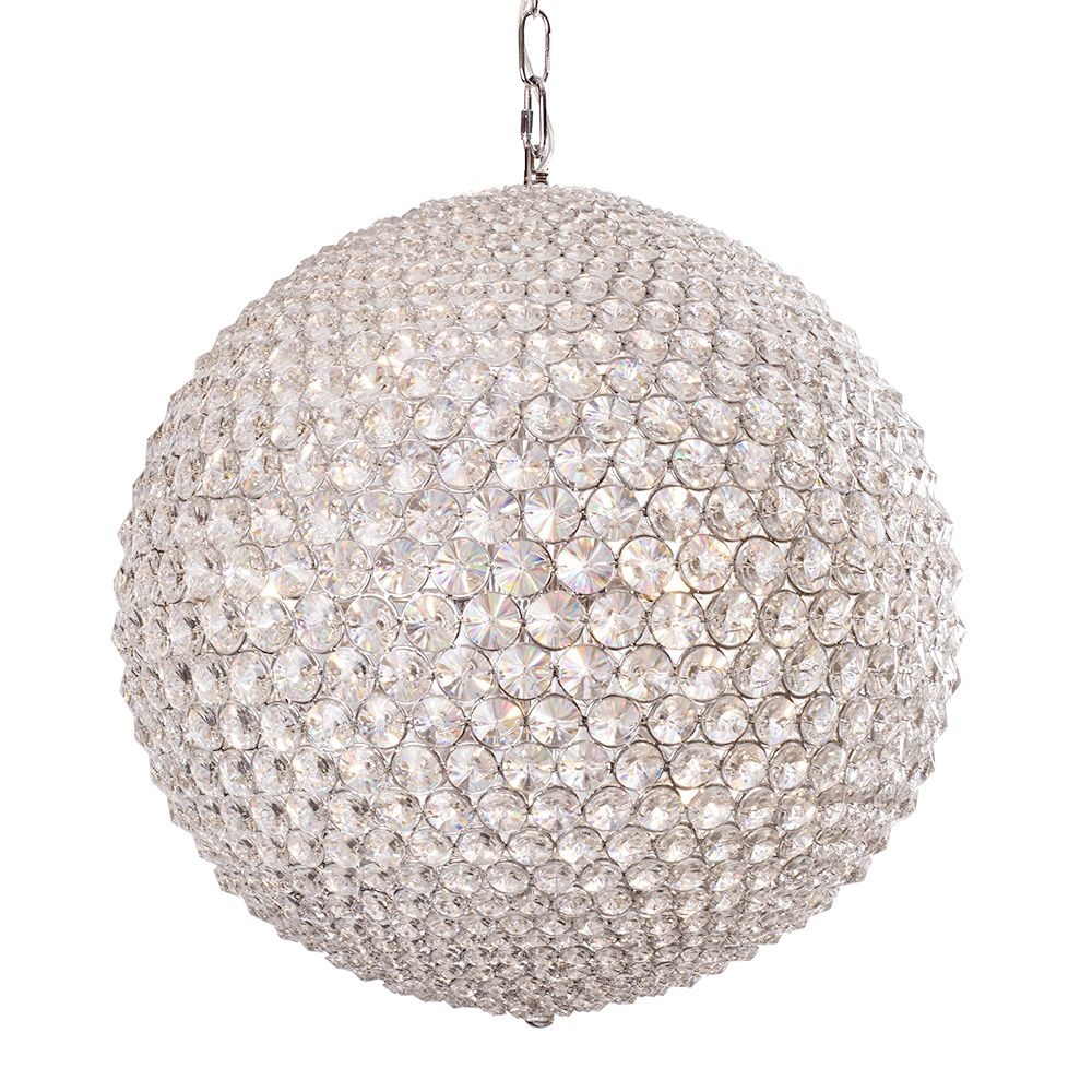 Roma Large 9 Light Crystal Globe Ceiling Pendant - Chrome From Litecraft