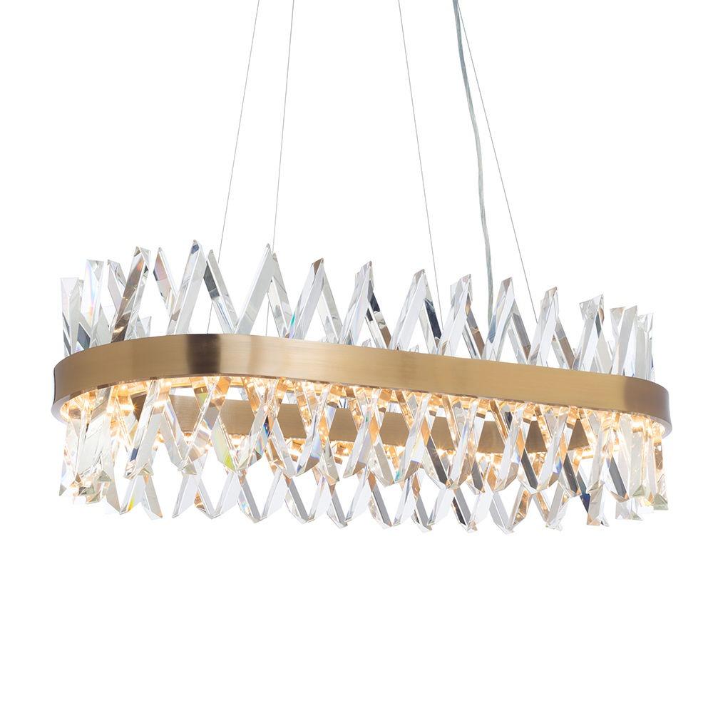 Visconte Flusso Oval Adjustable Ceiling Pendant Light - Antique Brass